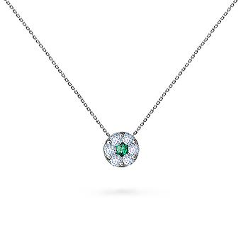 Necklace Duchess Full Diamonds on Precious Stone and 18K Gold - White Gold, Emerald