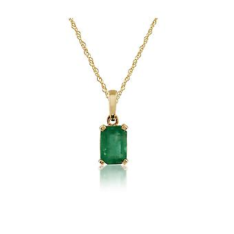 Classic Baguette Emerald Pendant Necklace in 9ct Yellow Gold 135P1571019