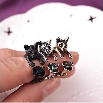 Ring with cat hugging finger cat lover
