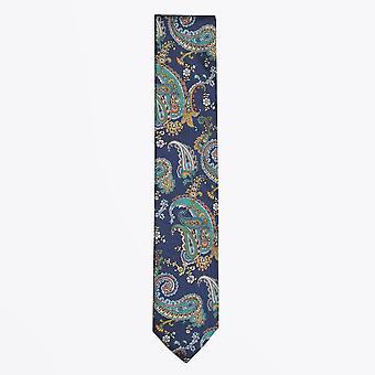 Eton  - Silk Paisley Print Tie - Blue