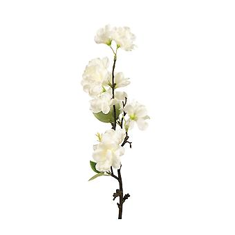 49cm Tall White Apple Blossom Stem - Artificial Fabric Flowers