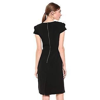 Lark & Ro Frauen's Pleated Rüschen Detail Cap Ärmel Ärmel Quadrat Ausschnitt Mantel Kleid, schwarz, 2