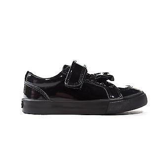 Kickers Tovni Bow Strap Patent Leather Infant Toddler Kids School Shoe Black