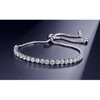 Silver Crystal Adjustable Rope Tennis Bracelet