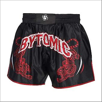 Bytomic twin tiger muay thai shorts black/red/white