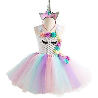Šaty s tylovou sukní a čelenkou - bílý top, 10-12 let