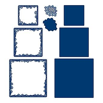 Tattered Lace Raggedy Sqaure Patch Aperture Die Set