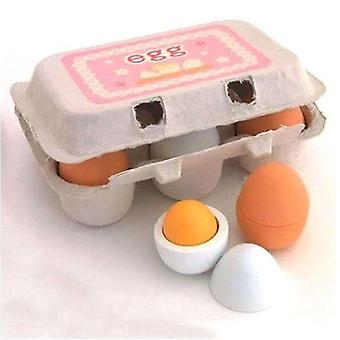 6pc Wooden Eggs Yolk Pretend Play Kitchen Food Kid Educational Toy