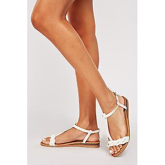 Plaited Strap Platform Sandals