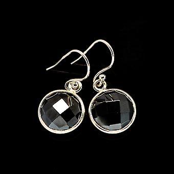 """Black Onyx Earrings 1"""" (925 Sterling Silver)  - Handmade Boho Vintage Jewelry EARR405644"""