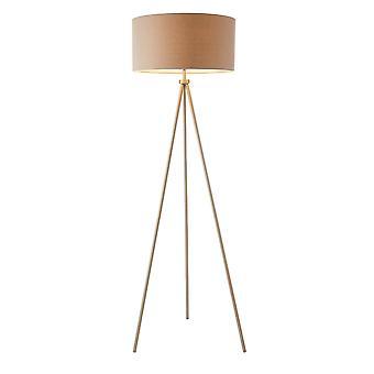 1 Light Floor Lamp Matt Nickel, Grey Linen Effect, E27