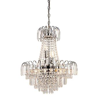 6 Light Ceiling Pendant Chrome, Clear Faceted Glass Beads, E14