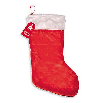 Large Plush Santa Style Christmas Stocking Sack Red White 62 x 33cm