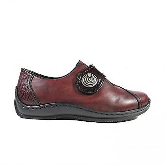 Rieker Celia L1760-35 Borgoña Cuero/Patente Cuero Zapatos de Cinta Rip