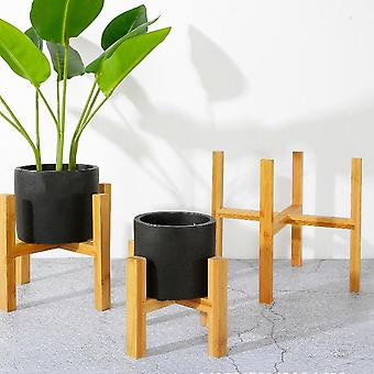Balcony Bamboo Wood Flower Pot Holder, With Foot Pad