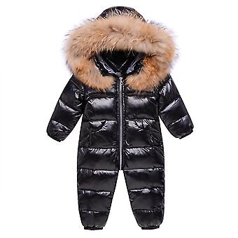 Winter Baby Snowsuit Real Fur Waterproof Boys Winter Jumpsuit