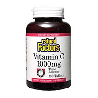 Luonnolliset tekijät C-vitamiini, 1000 mg, Ajan vapautuminen 180 Tabs