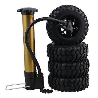 4PCS 1.9inch RC1:10 Crawler Carro Roda aro e pneu inflável W/ Clipe de prata