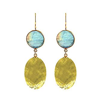 Gemshine earrings gold-yellow citrine ovals and grey labradorites in 925 silver