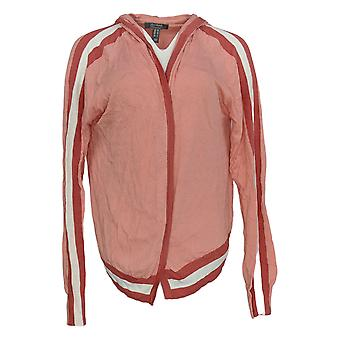 Lisa Rinna Collection Women's Sweater Long Sleeve Striped Hooded Pink