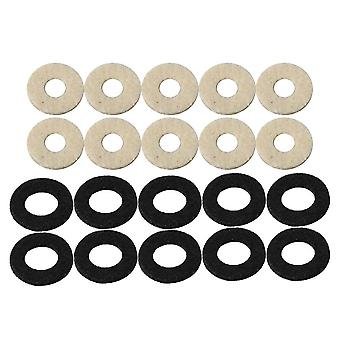 10 Pieces 18mm OD Black and 15mm OD White Trumpet Valve Stem Felt Washer