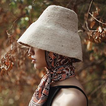 Pălărie găleată de iută, în bej nud