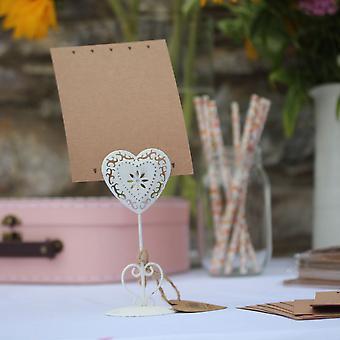 Bryllup tabell navn tom kort hjertet Kraft kort x 8 rustikk