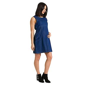 Thelma sleeveless denim maternity dress - blue