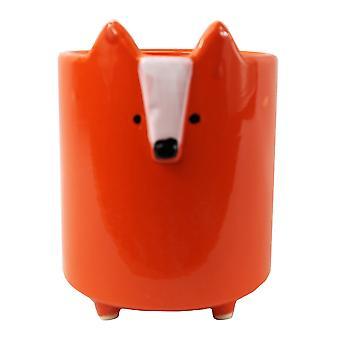 14cm Ceramic Orange Fox Planter