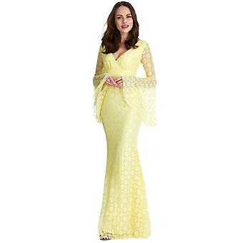 Yellow floral lace long-sleeved maxi dress
