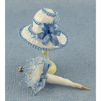 Dolls House Lady's Hat & Parasol In Blue Miniature Millinery Shop Accessory