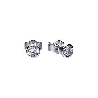 Diamonfire 925 Sterling Silver Cubic Zirconia Rub Over Bezel Set Solitaire Stud Earrings with Post & Butterfly
