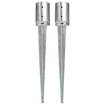 Aarde spiesjes 2 pc's. zilver 10x76 cm Gegalvaniseerd staal