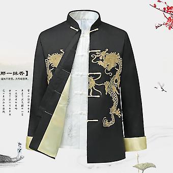 Tradizionale stile cinese Ricamo Dragon Hanfu Blouse Abito Uomo T Camicie Top