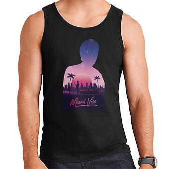Miami Vice Sunset City Silhouette Men's Vest
