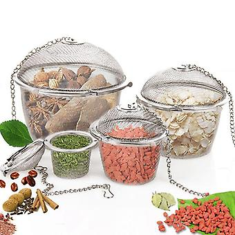 Spice Seasoning Bag, Tea Strainer, Chained Lid, Stainless Steel Mesh, Ball