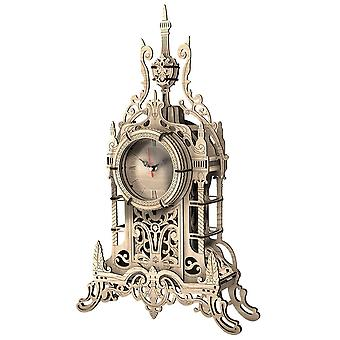 3d Diy Wooden Clock Puzzle Model Building Kit Laser Cutting Belfry Table Clock