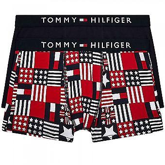 Tommy Hilfiger Boys 2 Pack Original Cotton Boxer Trunk, Mbu/Tommyland/Aop/Desert Sky, 10-12 años