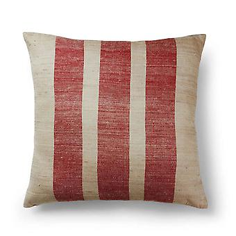 Raspberry Striped Hand Woven Cotton Zip Closure Contemporary 18x18 Pillow Cushion