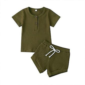 Knitted Baby Button T-shirts Tops+shorts Infant Clothing Outfits Sets