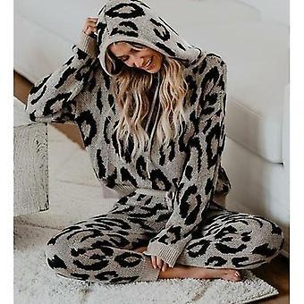 Autumn Winter Women Suit Sets Two-pieces Leopard Suit Set