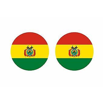 2x stick klistermärke rund cocarde boliviansk flagga