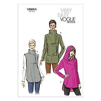 Vogue Coser patrones 8854 se pierde el tamaño de la túnica de ajuste suelto XS-MD