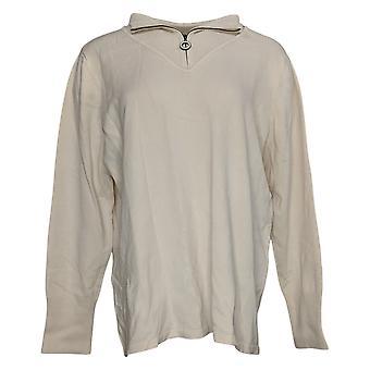 Susan Graver Women's Sweater 3/4 Zip-Front Long Slv Sweater Beige A343078