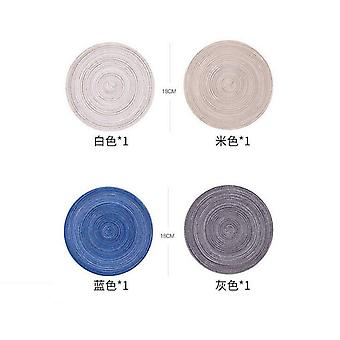 4 Pcs ecor Placemats For Table Mat Anti Slip Drink Coasters Insulated Solid Linen Ramie(18cm)