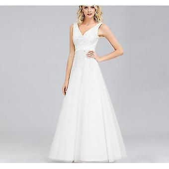 Lace Sequined A-line V-neck Simple Wedding Gowns For Bride