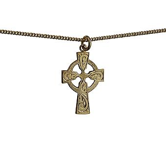 9ct Gold 28x20mm hand engraved Celtic Cross with a curb Chain 16 inches Only Suitable for Children
