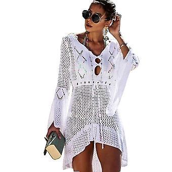 Sommer Bikini Vertuschung gestrickt Aushöhlen Suncreen Beachwear Kleid