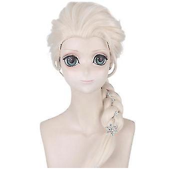 Princess Realistic Fluffy Wig Beige Braid Cos Wig Set