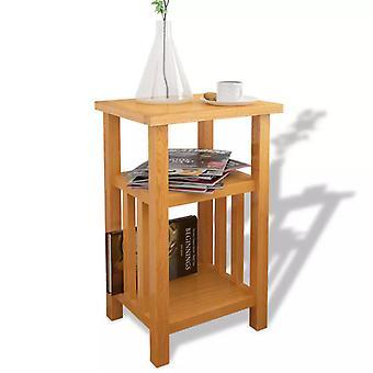 """שולחן צדדי vidaXL עם מדף עיתון 27x35x55 ס""""מ עץ מלא אלון"""